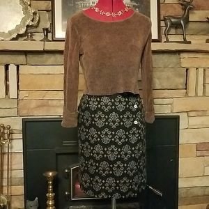 Coldwater Creek Wrap Skirt S & Crop Sweater PS